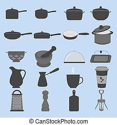 cookware, ensemble, icônes