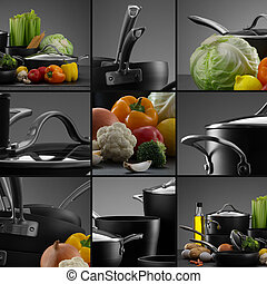 cookware mix - close up view of nice cookware set with some ...
