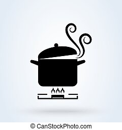 Cookware on gas stove. Pans with boiling water, opened and closed pan lid on gas stove, fire and steam, vector illustration.