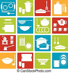 Cookware - Set of kitchen and cooking icons. Vector ...
