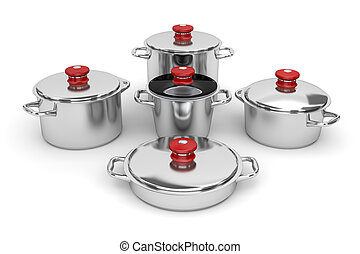 Cookware - Set of stainless steel pots on white background