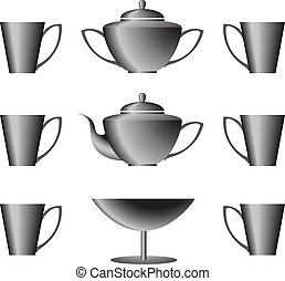 Cookware set - set black tea cookware on a white background