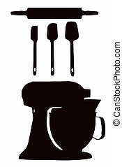 Cookware Silhouette - Cookware silhouette with spatula, ...