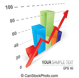 Cool 3D Graph - This image is a vector file representing a...