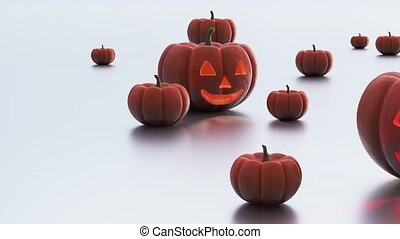 Cool and Bad Halloween Pumpkins with some others on a white...