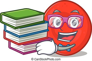 Cool and clever Student erythrocyte cell mascot cartoon with...