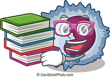 Cool and clever Student monocyte cell mascot cartoon with ...