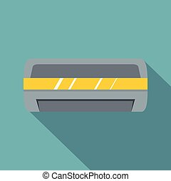 Cool and cold climate control system icon. Flat illustration...