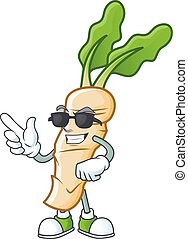 Cool and cool horseradish character wearing black glasses. Vector illustration