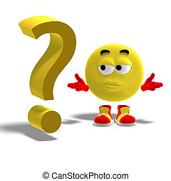 3D rendering of a cool and funny emoticon with a question mark with clipping path and shadow over white