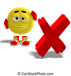 3D rendering of a cool and funny emoticon who says oh no to a x-mark with clipping path and shadow over white