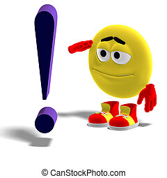 cool and funny emoticon says yes mr. exclamation mark - 3D...