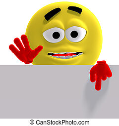 cool and funny yellow emoticon says look here - 3D rendering...