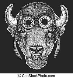 c9eea5613 Buffalo, bison,ox, bull Hand drawn image for tattoo, emblem, badge logo  patch