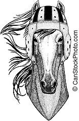 Cool animal wearing rugby helmet Extreme sport game Horse, hoss, knight, steed, courser Hand drawn image for tattoo, emblem, badge logo patch t-shirt
