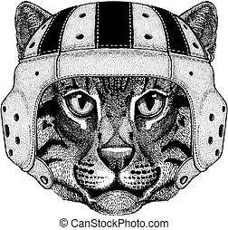 Cool animal wearing rugby helmet Extreme sport game Wild cat Fishing cat Hand drawn image for tattoo, emblem, badge, logo, patch