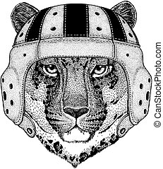 Cool animal wearing rugby helmet Extreme sport game Wild cat Leopard Cat-o'-mountain Panther Hand drawn picture for tattoo, emblem, badge, logo, patch, t-shirt