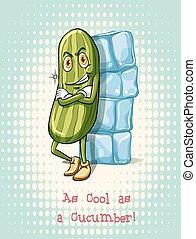 Cool as a cucumber idiom illustration