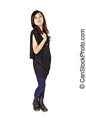 Cool asian woman on white background