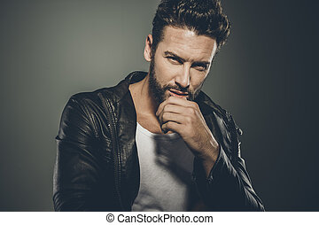 Cool attractive man in leather jacket - Cool seductive man ...