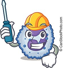 Cool automotive basophil cell in cartoon character style. ...