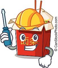 Cool automotive chinese box noodle in cartoon character style
