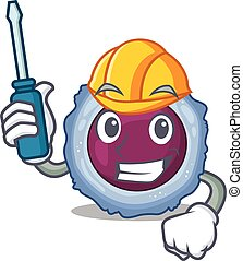 Cool automotive lymphocyte cell in cartoon character style. ...