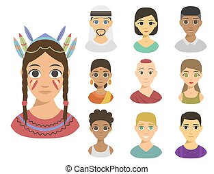 Cool avatars different nations people portraits ethnicity different skin tones ethnic affiliation and hair styles vector illustration.