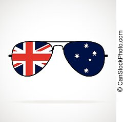 Cool simple Aviator Sunglasses with Australian Aussie flag in lenses vector