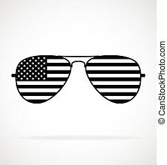 cool aviator sunglasses with usa flag black white vector