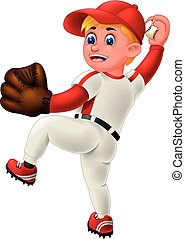 Cool Baseball Pithcer In Red White Uniform Cartoon