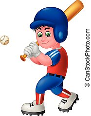 Cool Baseball Player Boy in Red Blue Uniform Hold Brown Baseball Bat Cartoon