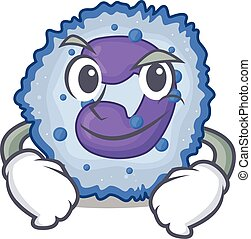 Cool basophil cell mascot character with Smirking face. ...