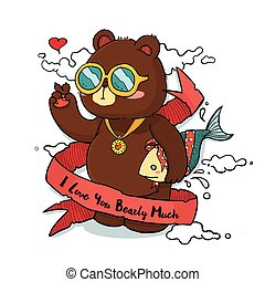 Cool Bear with Ribbon Greeting Card