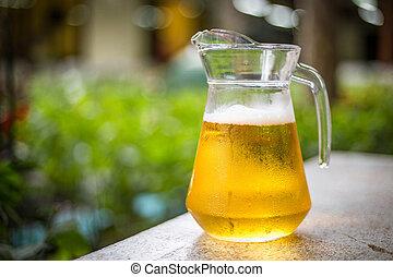 cool beer in a jug