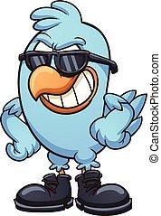 Cool bird - Smug cartoon blue bird wearing shades and boots....