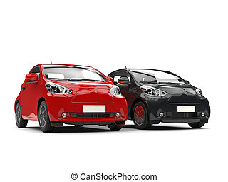 Cool black and red compact urban cars