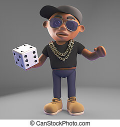 Cool black hiphop rapper gambles with a dice, 3d...