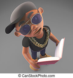 Cool black hiphop rapper reading an educational book, 3d...