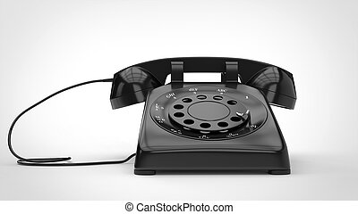 Cool black retro telephone - 3D Illustration