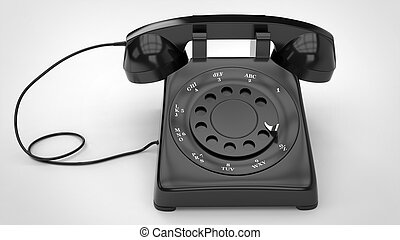 Cool black retro telephone - top down view - 3D Illustration