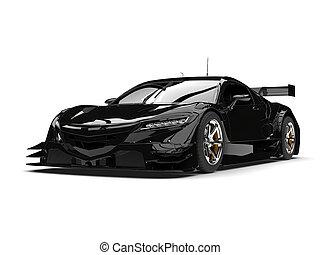 Cool black sports super car - studio shot