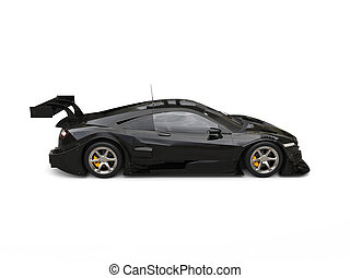 Cool black sports super car - top down side view