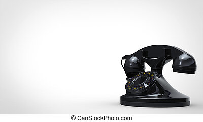 Cool black vintage telephone - 3D Illustration