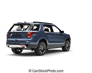 Cool blue metallic modern SUV car - back view