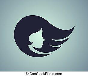 cool blue pretty girl face icon