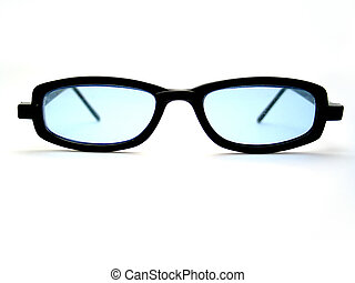 Cool Blue Shades - A pair of black horn-rimmed sunglasses....