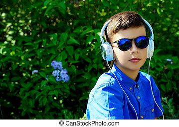cool boy in headphones