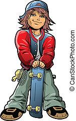 Boy With Skateboard - Cool Boy With Skateboard and Bandana