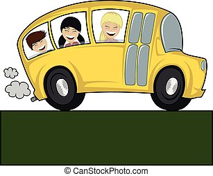 Cool bus - Funny illustration of a (school) bus with...